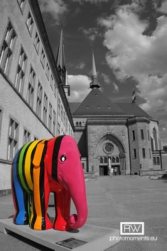 Elephant Parade vor der Kathedrale in Luxemburg