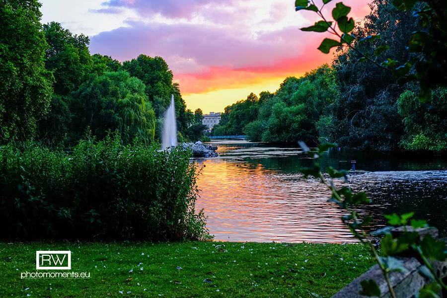 St James Park bei Sonnenuntergang, London